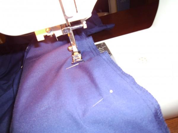 stitching seam on sewing machine