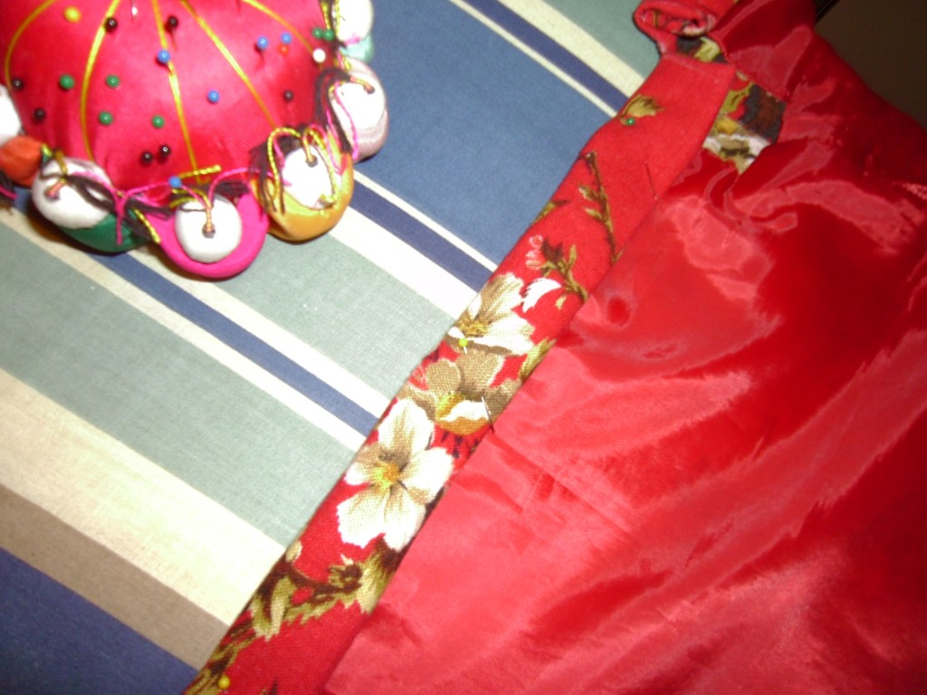 pinning hem of dress
