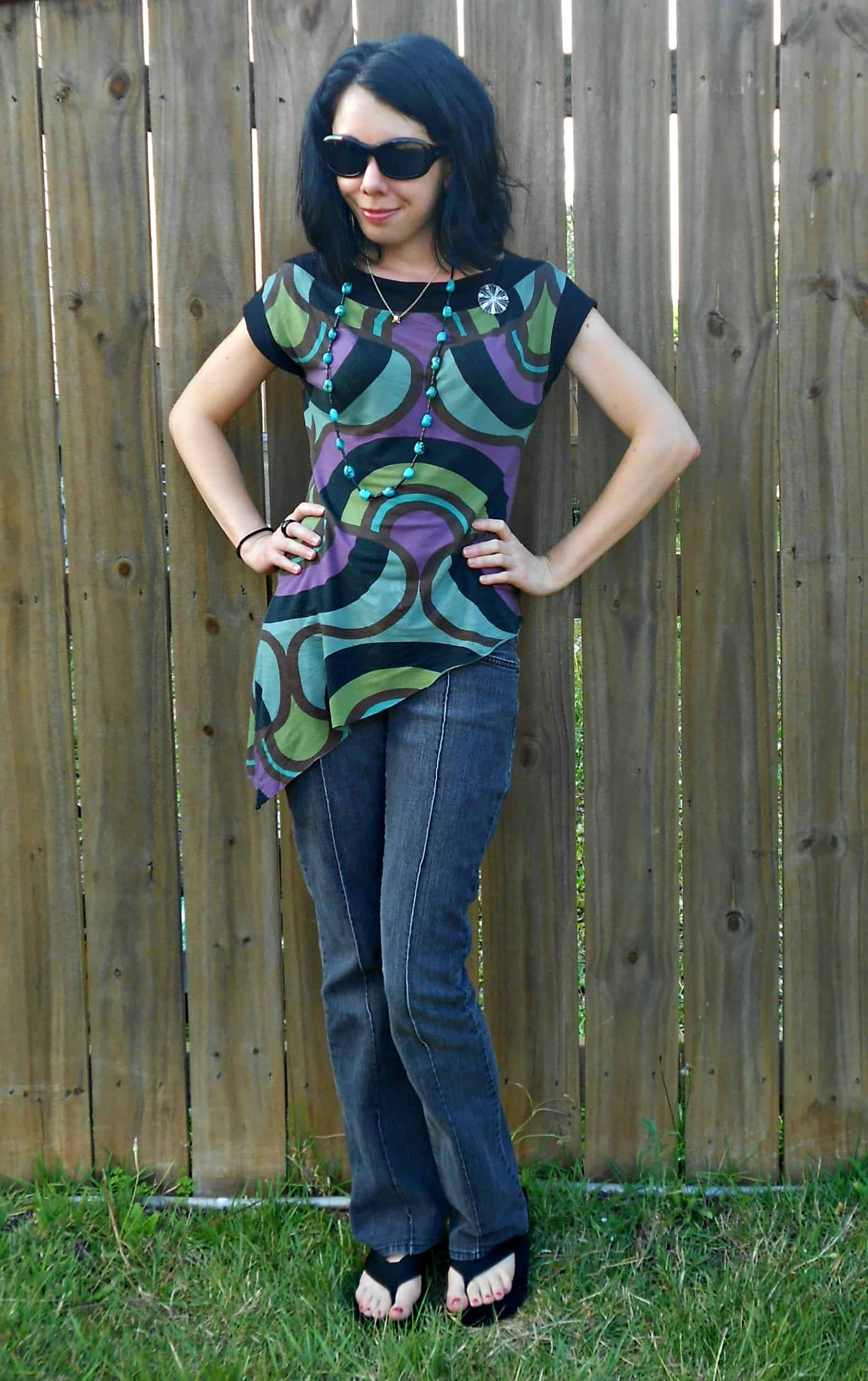 Day 357: Grown Up Enough: A Dress to Asymmetrical Top Refashion 1