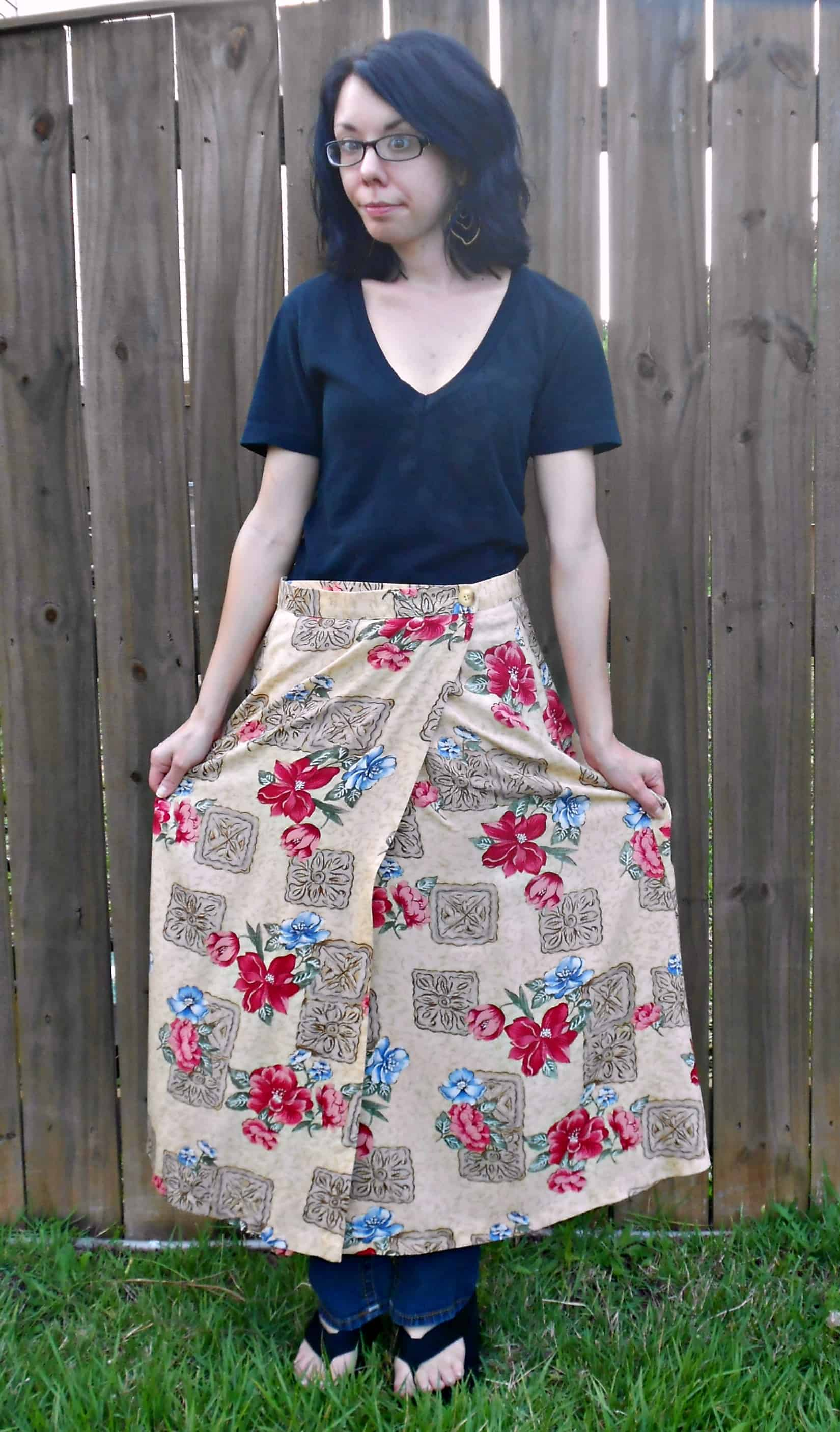 Day 351: Egyptian Papyrus Skirt to Dress Refashion 3