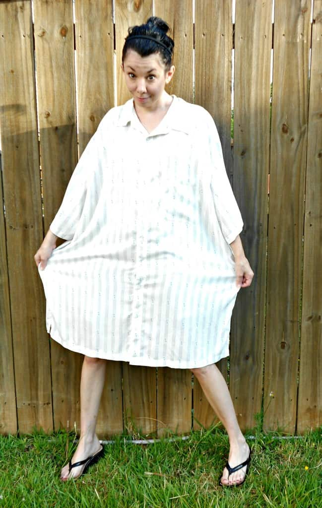 Day 360: Men's Button Up Shirt to Dress Refashion 4