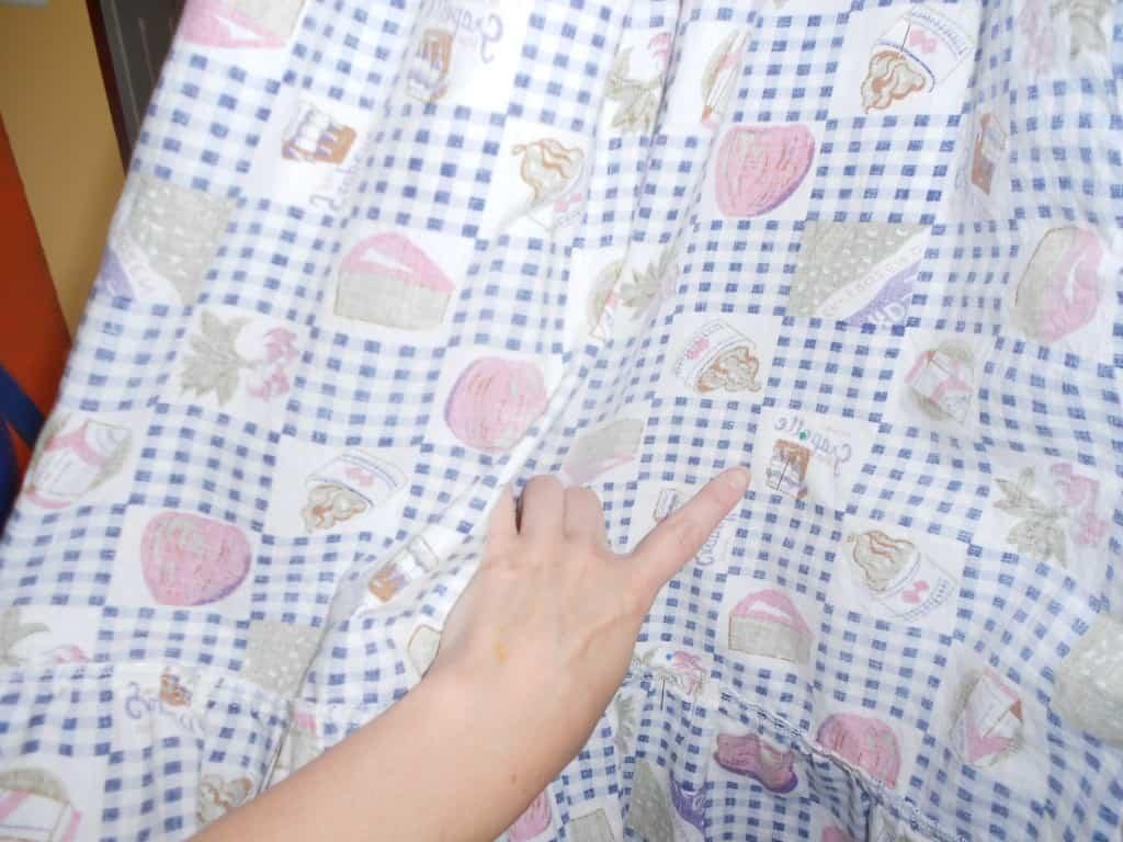 pinned back of dress