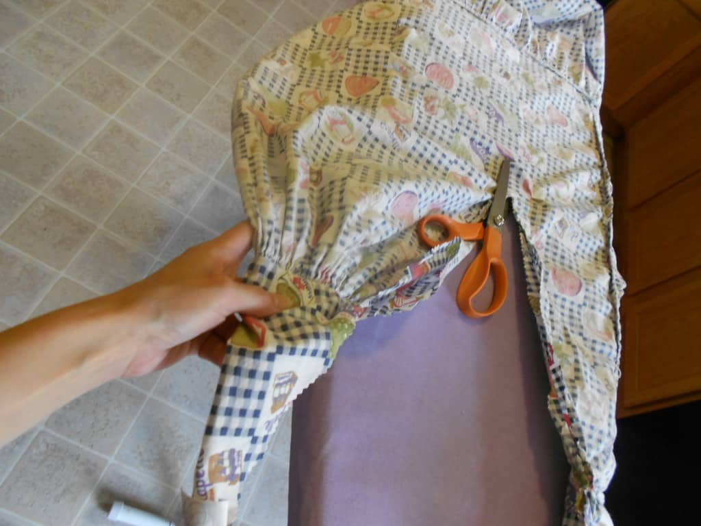 snipping off excess fabric