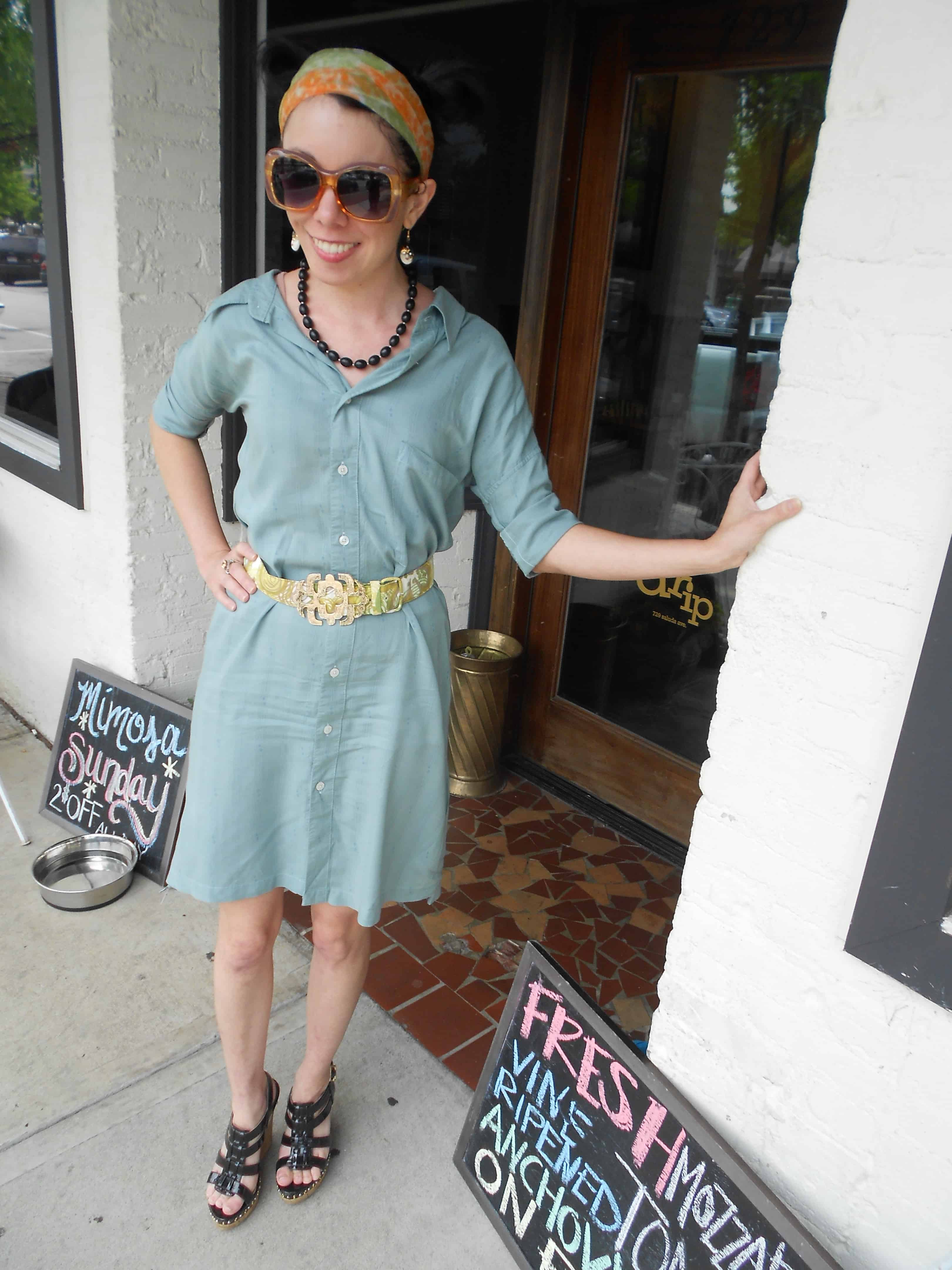 Day 360: Men's Button Up Shirt to Dress Refashion 13