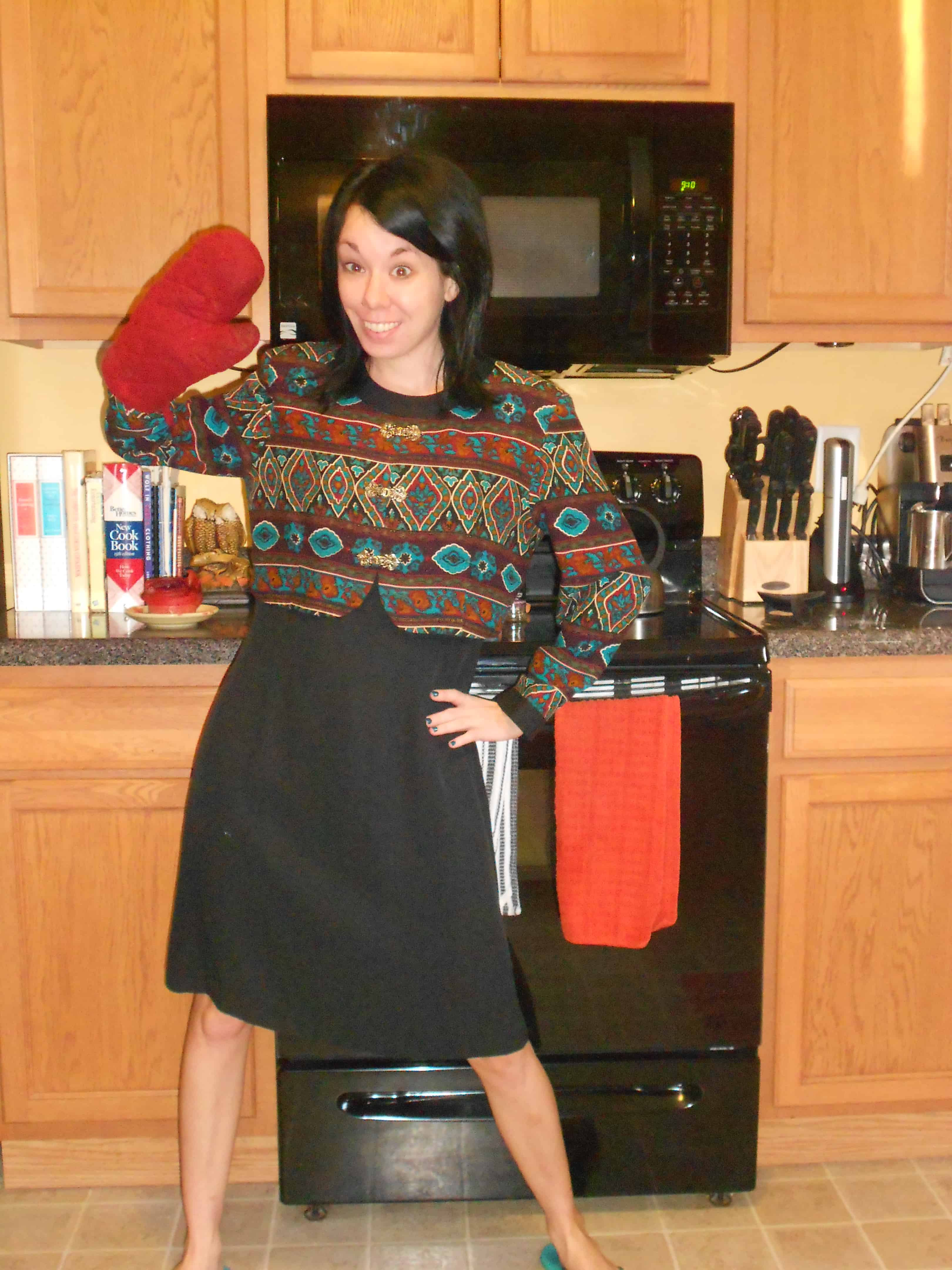 '90s dress to jacket refashion before in kitchen