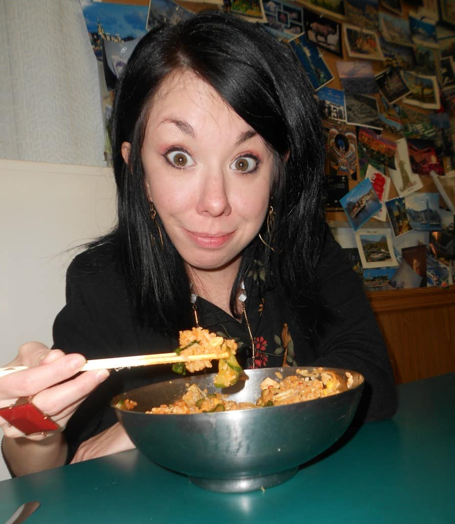 Jillian eating bowl of bee bim bop
