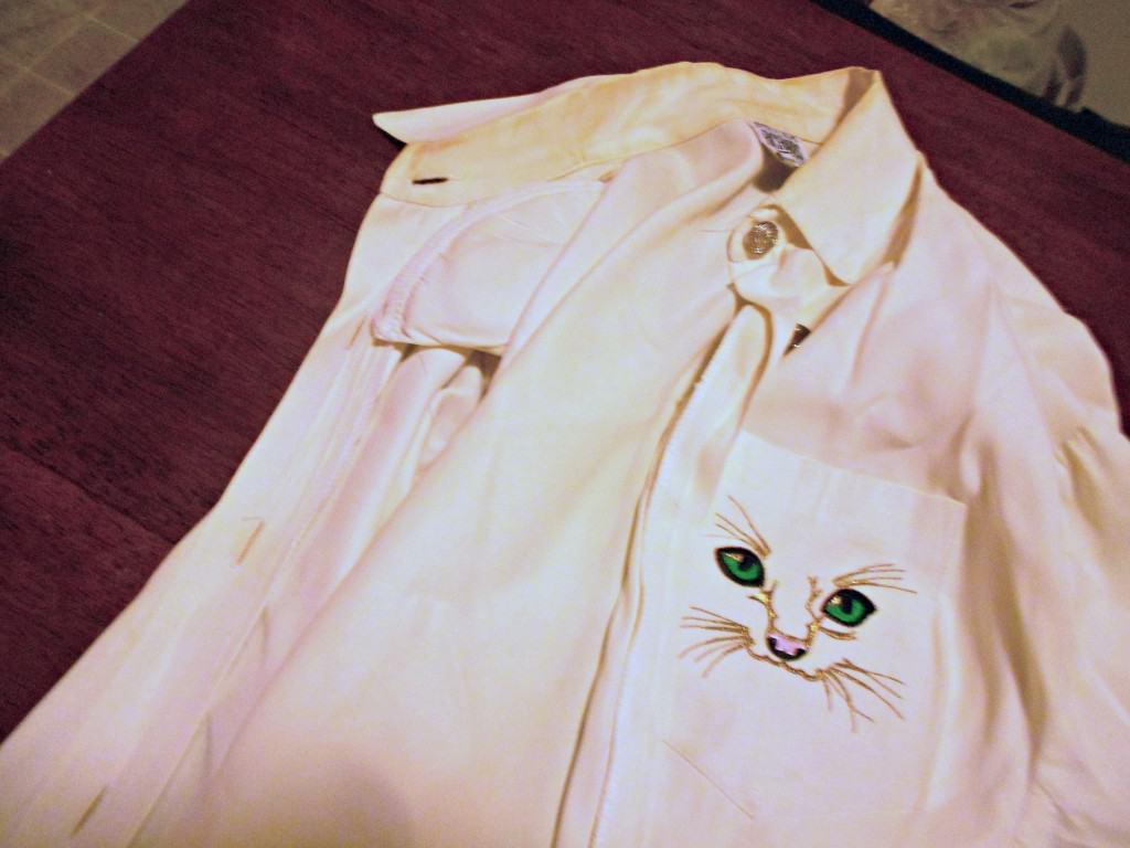 women's dress shirt with cat pocket