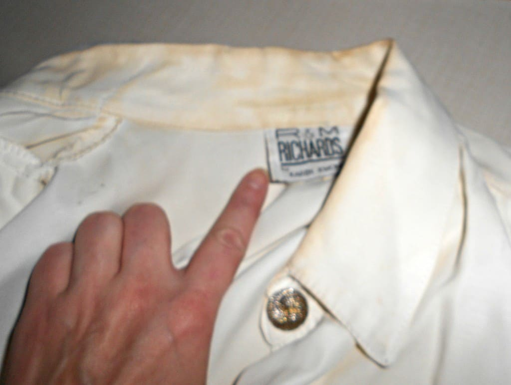 Closeup of stains on shirt