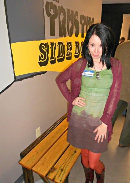 "Jillian in theater lobby wearing ""margaret"" name tag"