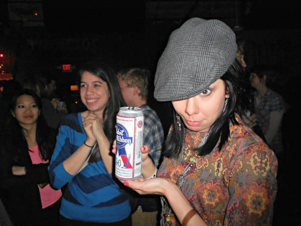 Jillian in hipster hat with PBR