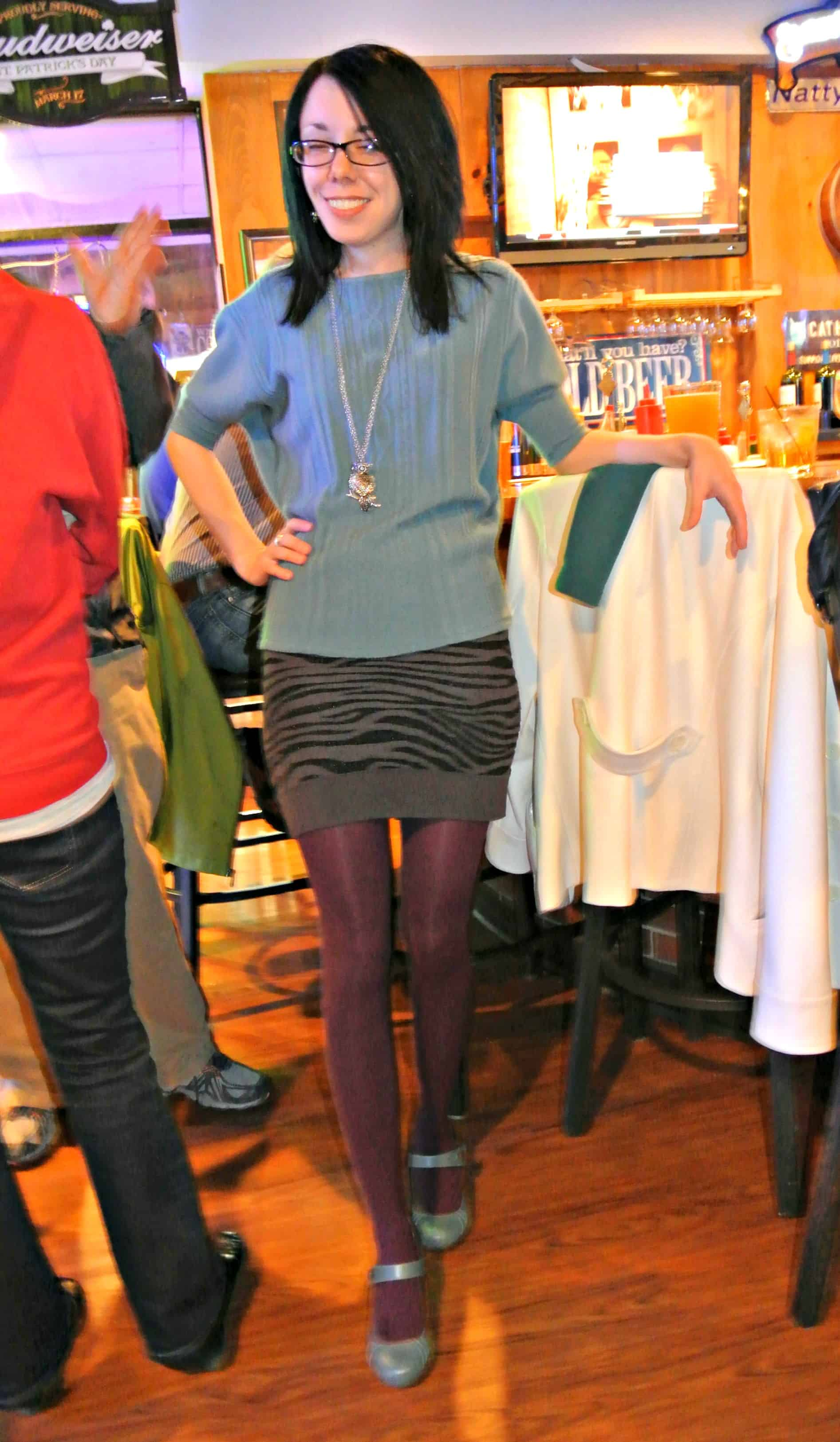My skirt is an old sweater tube top! Double Refash!