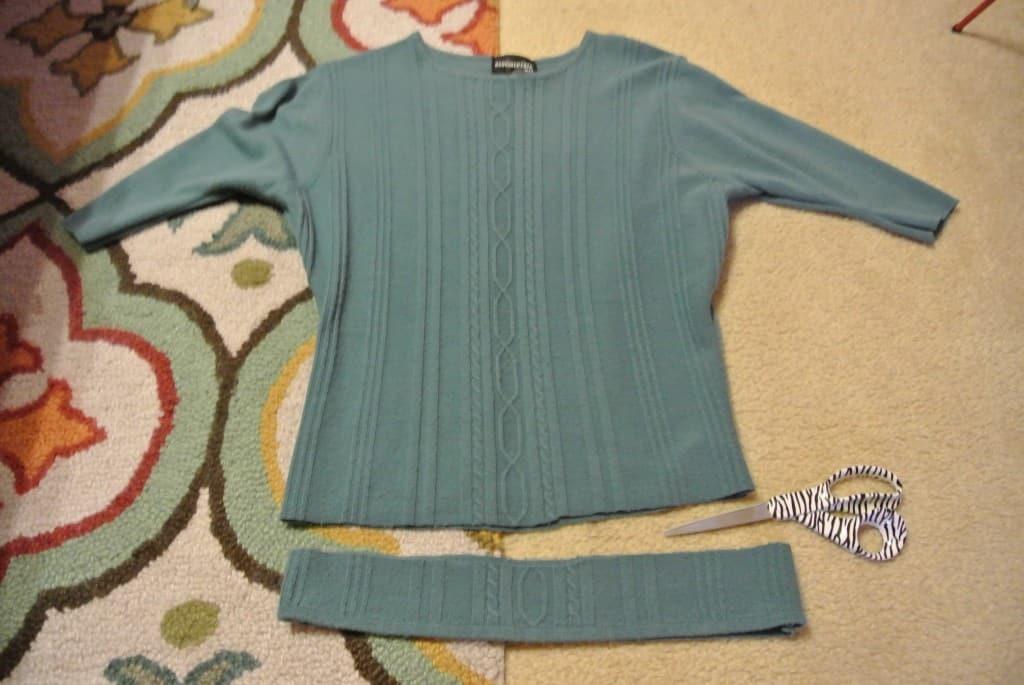 cutting bottom off sweater