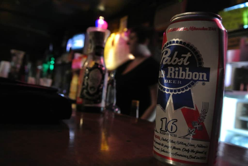 can of pbr on bar