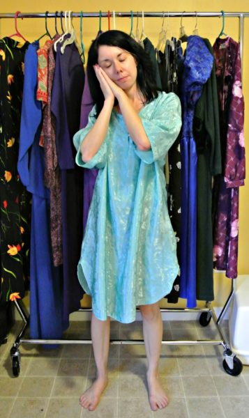 refashionista Unzipped: Nightgown to Zip Back Tank Top Refashion before3