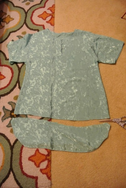 cutting off bottom of nightgown