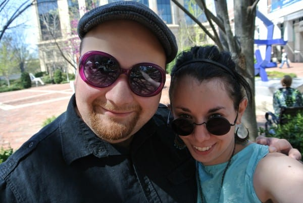 dan and jillian with swapped sunglasses