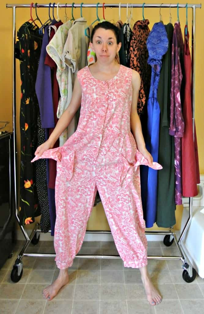 refashionista 80s Jumpsuit to Dress Refashion before