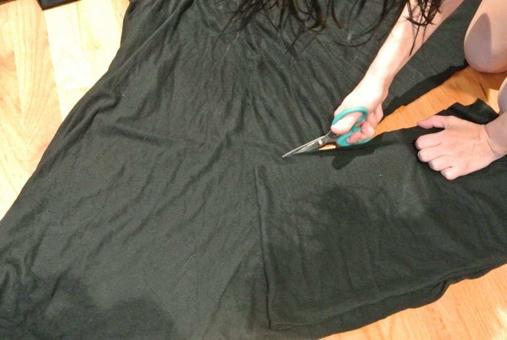 cutting off bottom of dress