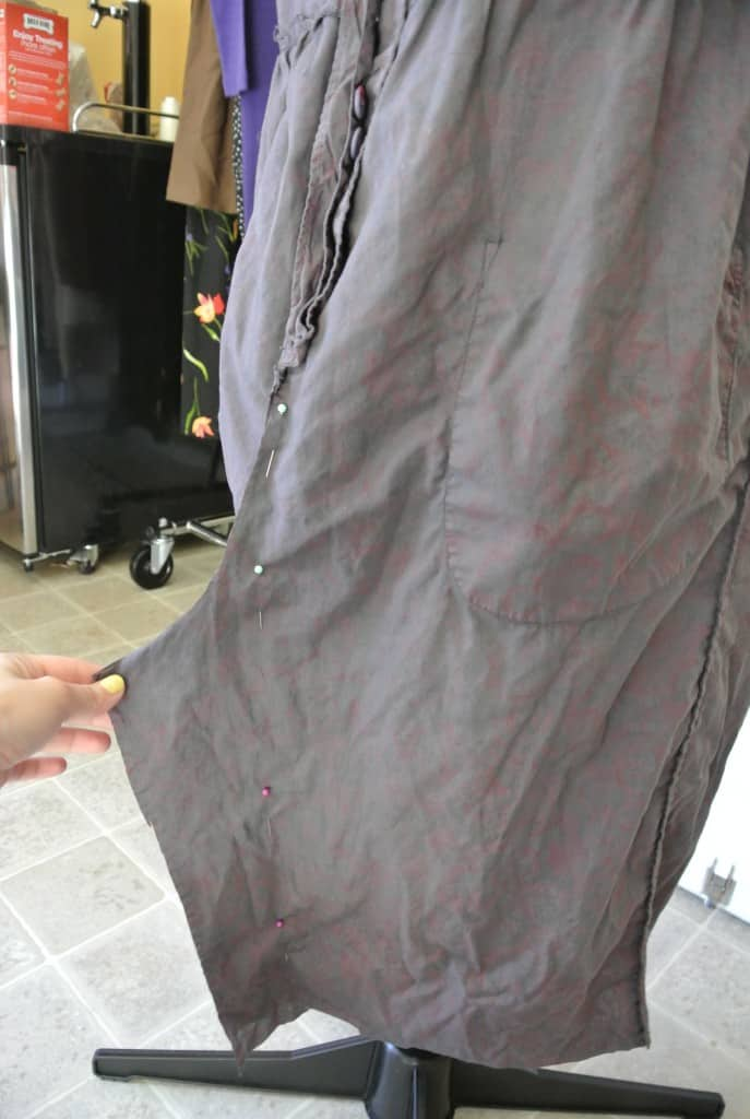pinning front of skirt
