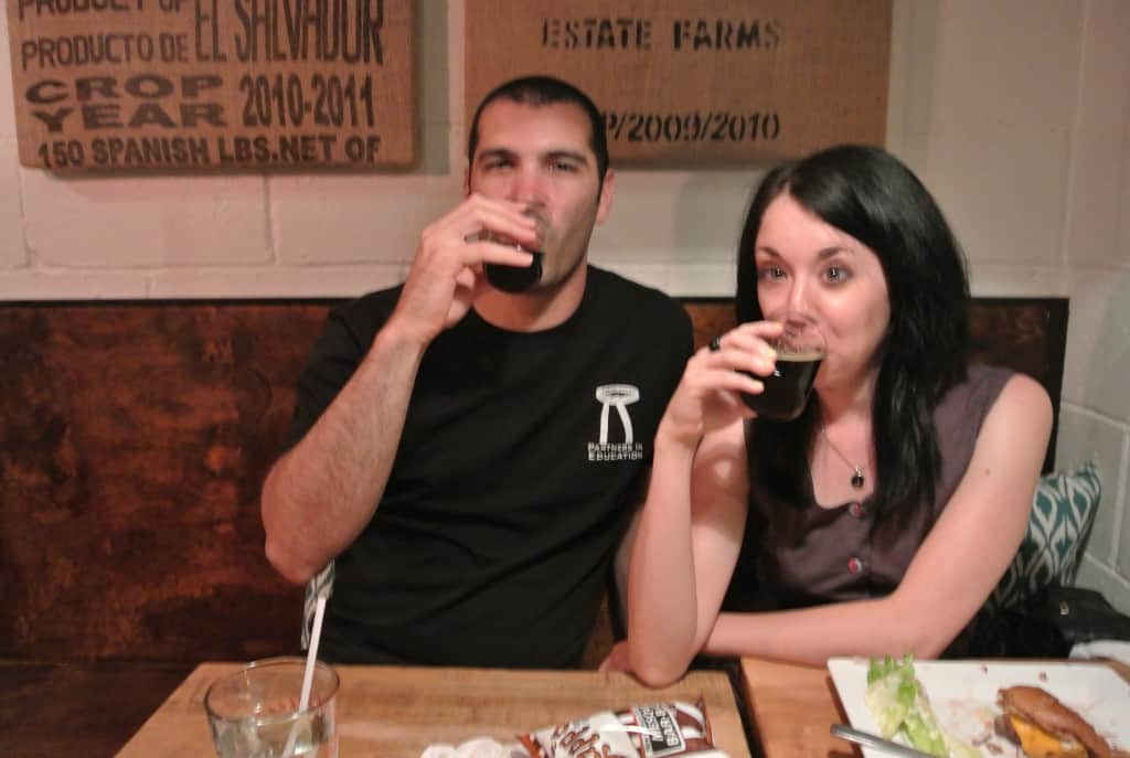 Jillian and Mike drinking beer