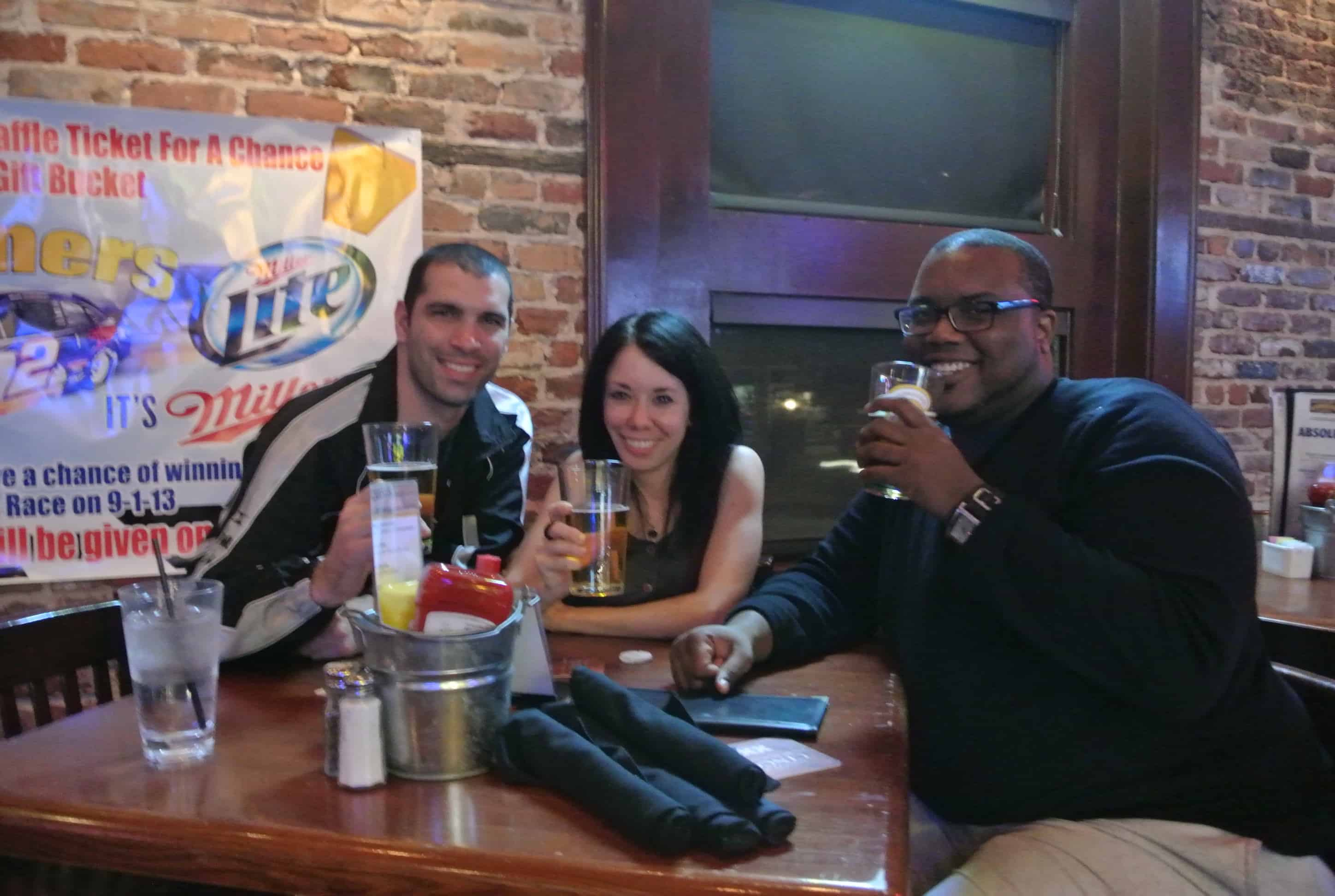Mike, Jillian and Travis at table