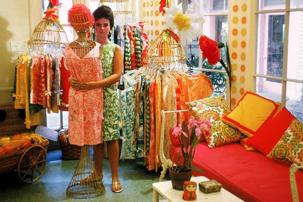 Lilly Pulitzer in her shop