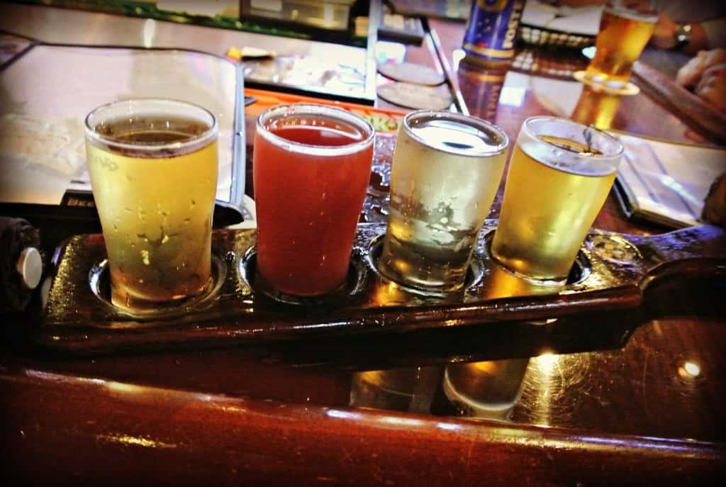 cider flight on table