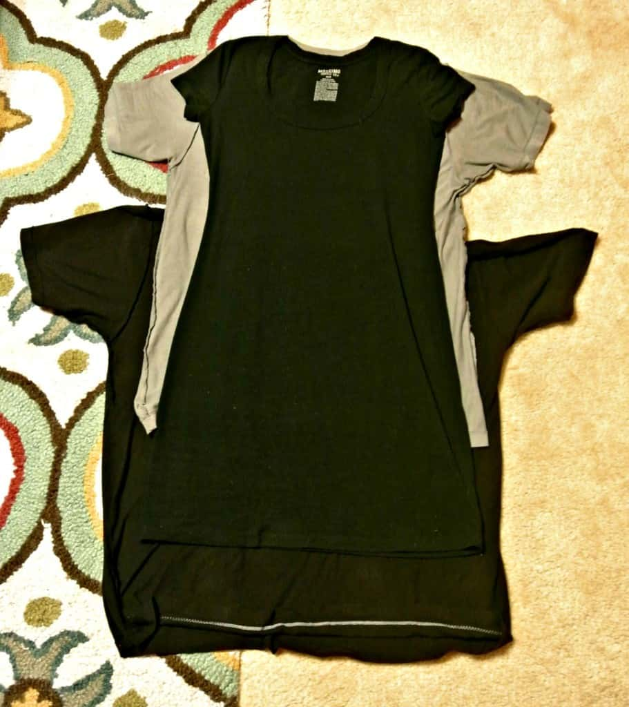 refashionista two tees one dress refashion tracing dress