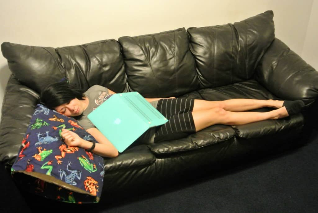 refashionista two tees one dress refashion asleep on couch