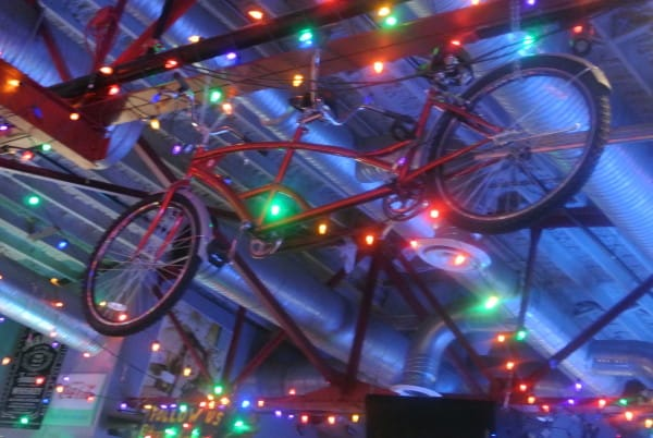 It's a bike! On the ceiling!
