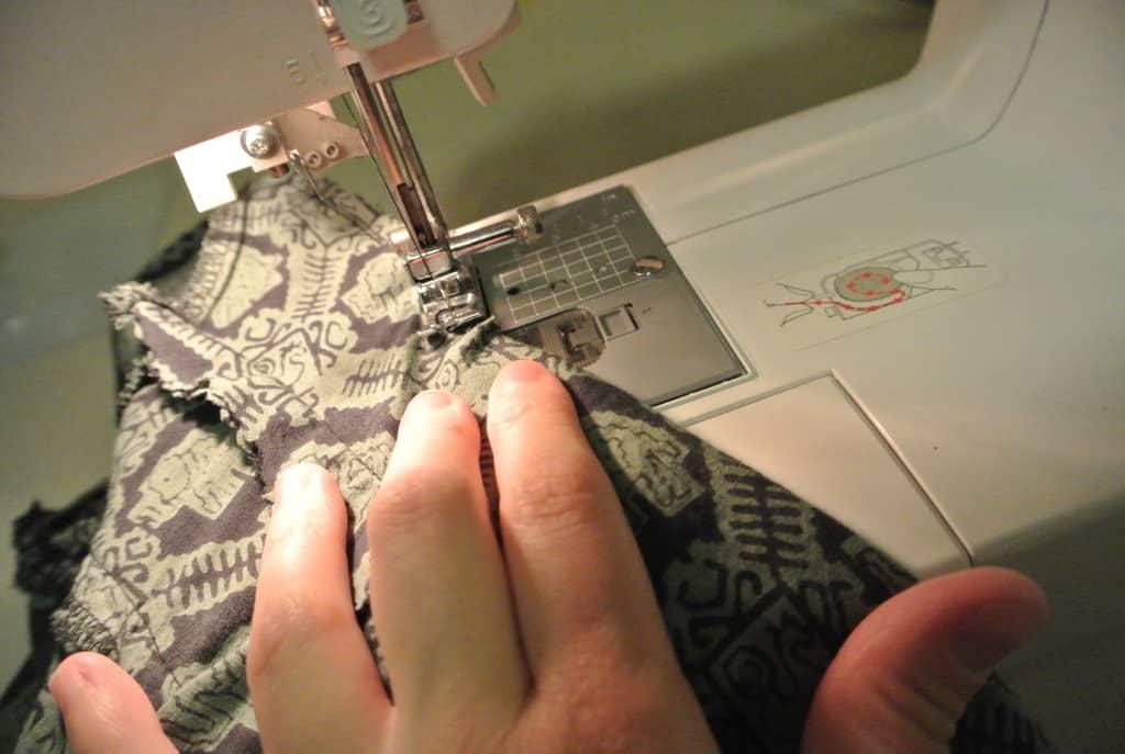 stitching armhole on machine