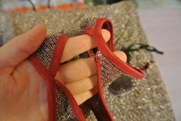 Torn strap of dress