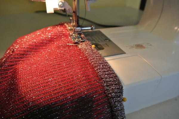 Pinning and sewing down hem