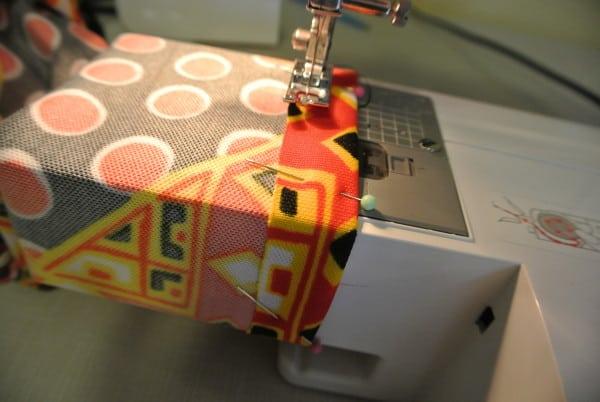 Sleeve hemming in progress!