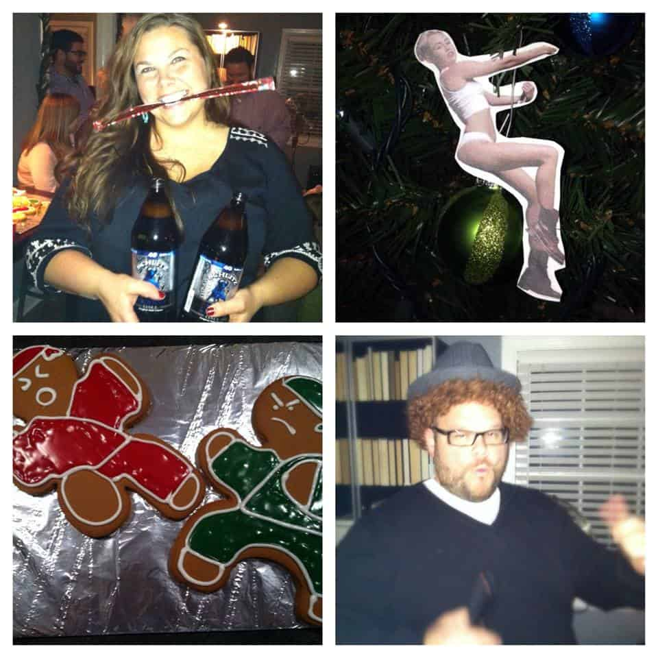 collage of white elephant party gifts, ornaments and cookies