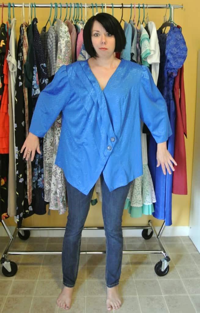 refashionista '80s Blouse to Vest Refashion before