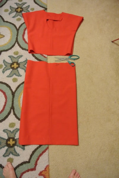 cutting bottom off dress for refashion