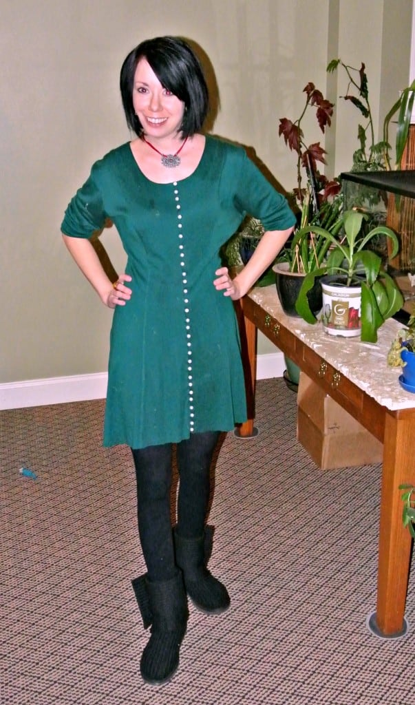Christmas No-Sew Dress Refashion after