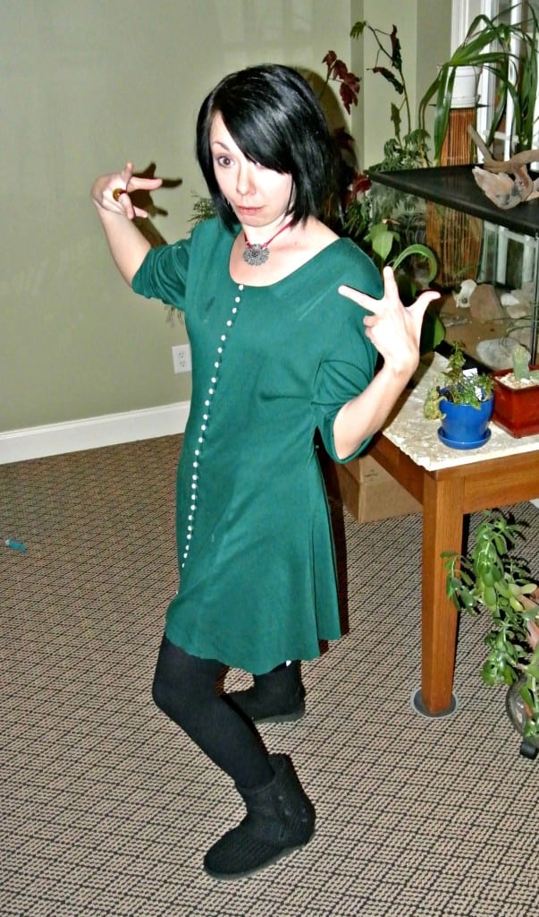 Christmas No-Sew Dress Refashion funny face
