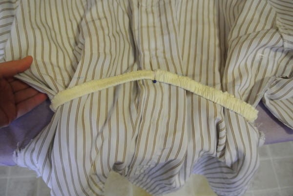 adding elastic to shirt for dress refashion
