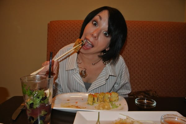refashionista eating sushi
