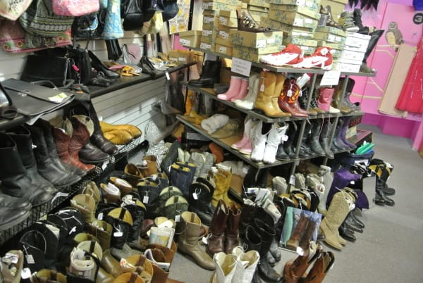 boots in vintage store