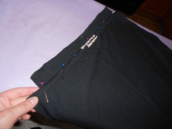 pinning top edge of shirt