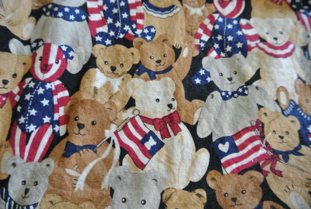 closeup of patriotic bears fabric
