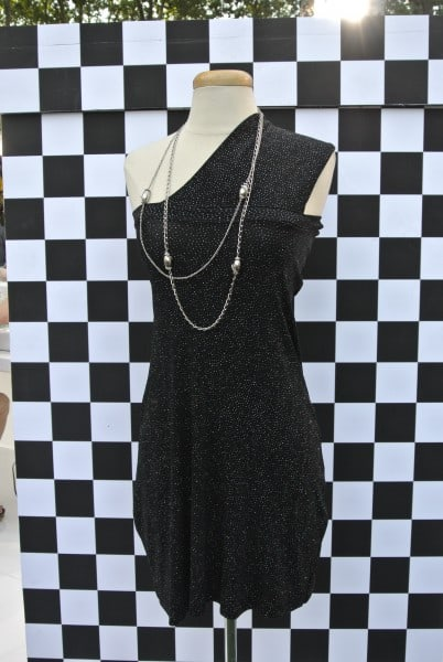 refashioned dress on dress form after