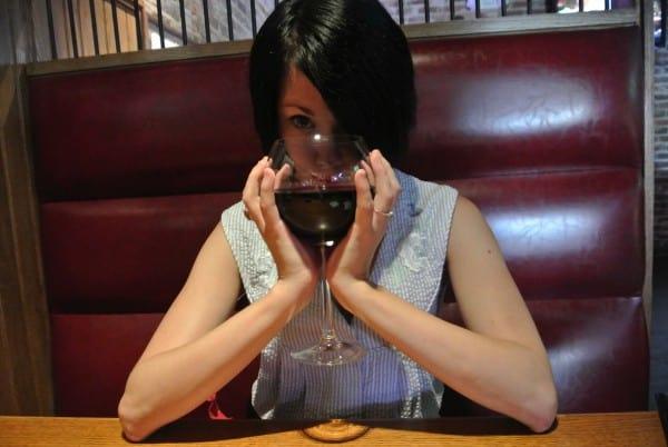 refashionista drinking wine