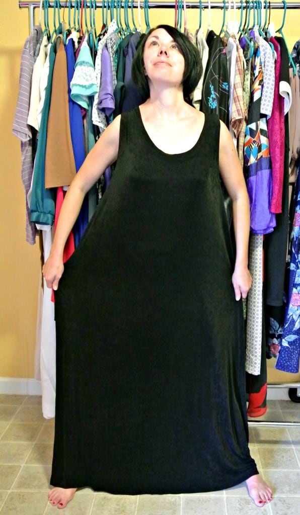 Sleeveless Dress to Keyhole Back Top Refashion before