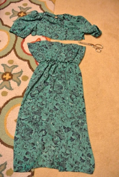 chopping off top of dress for strapless dress refashion