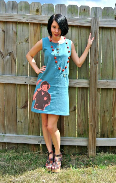 refashioned dress with t-shirt applique