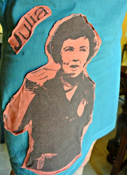 julia child applique on dress